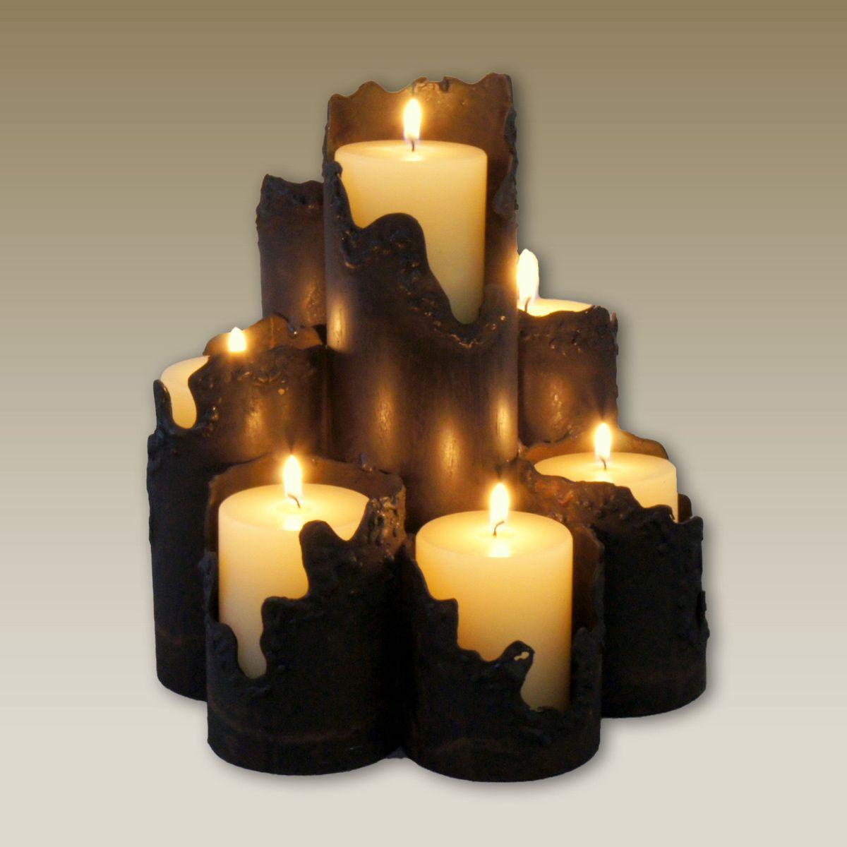 Torn Edge Metal Candle Holder - 7 Candles