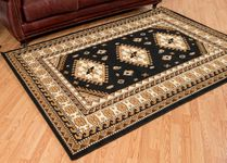 Tres Diamonds Black Rug - 5 x 8