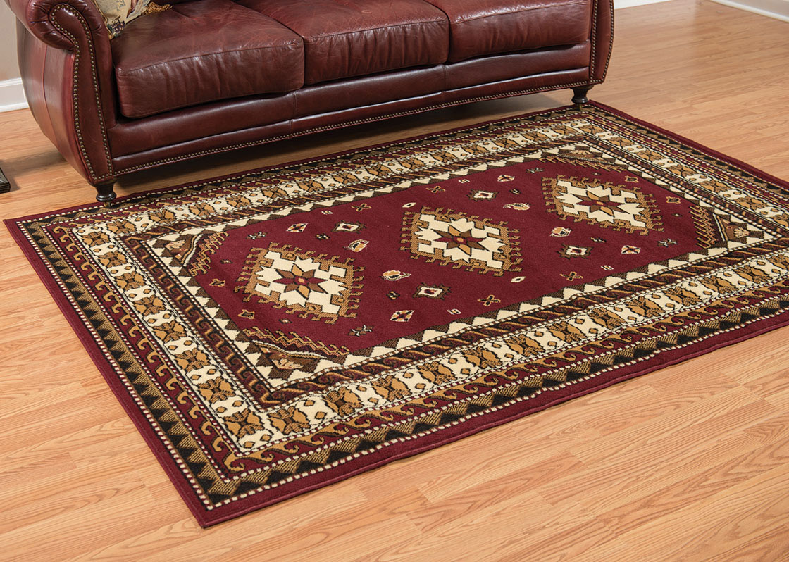 Tres Diamonds Burgundy Rug - 5 x 8