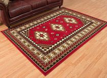 Tres Diamonds Red Rug - 5 x 8