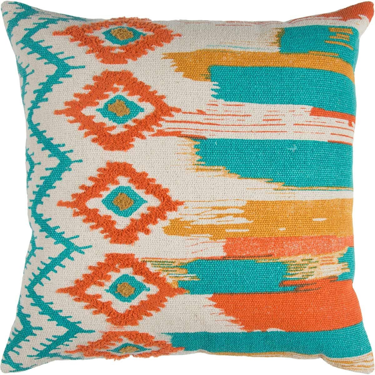 Tribal Brushstrokes Pillow - Teal