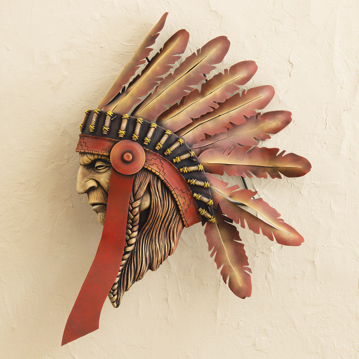 Tribal Chief 3-D Sculpture Wall Art