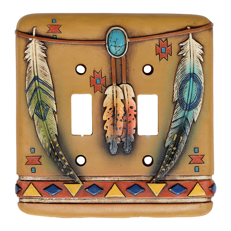 Tribal Feathers Double Switch Plate Cover