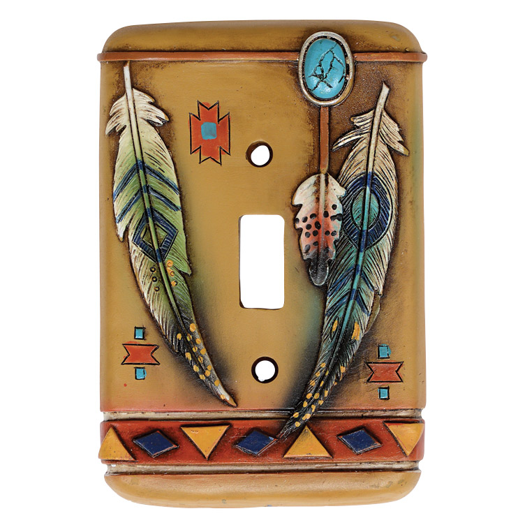 Tribal Feathers Single Switch Plate Cover - CLEARANCE