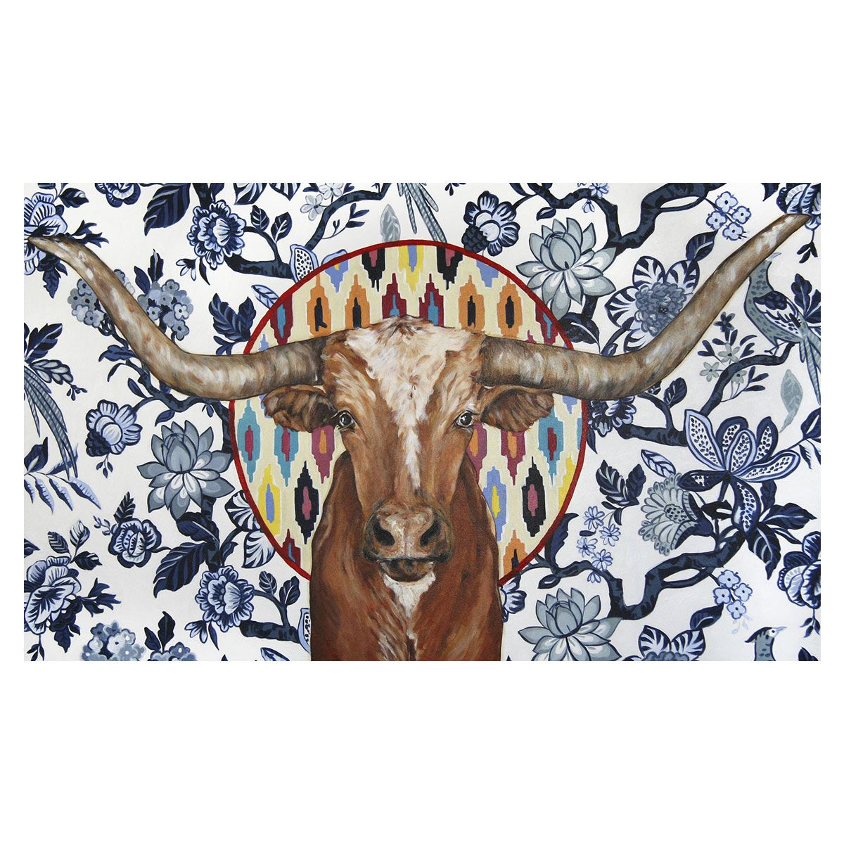 Tribal Longhorn Floral Canvas Art