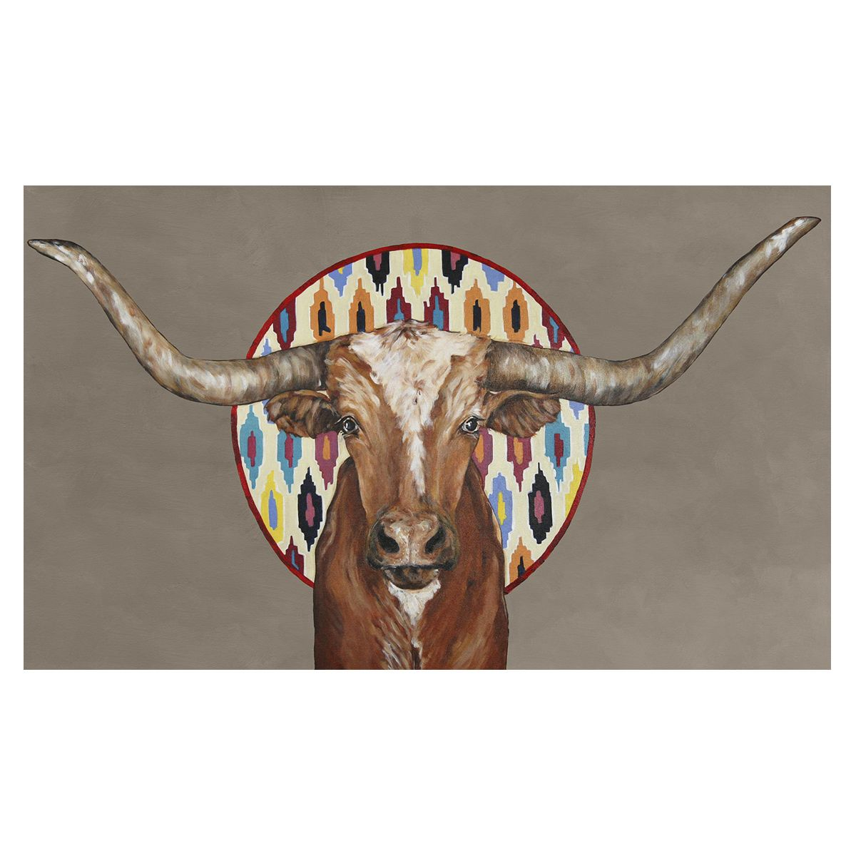 Tribal Longhorn Taupe Canvas Art