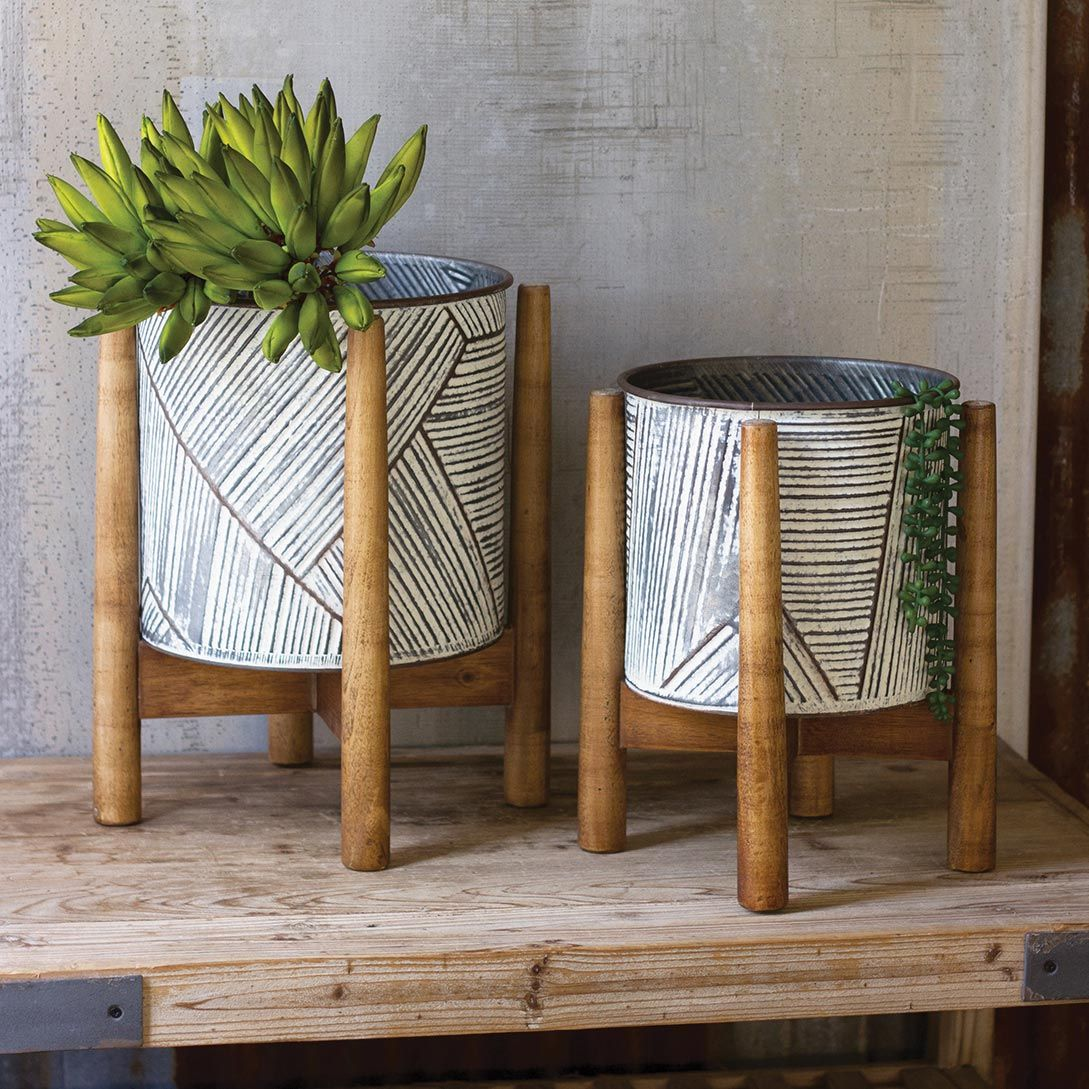 Tribal Pressed Tin Striped Planters - Set of 2 - OVERSTOCK