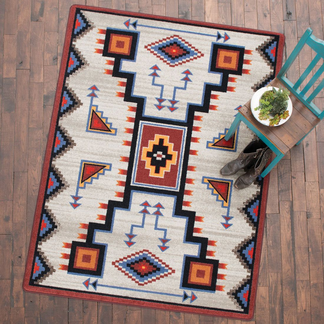 Tribal Rain Blue Rug - 4 x 5