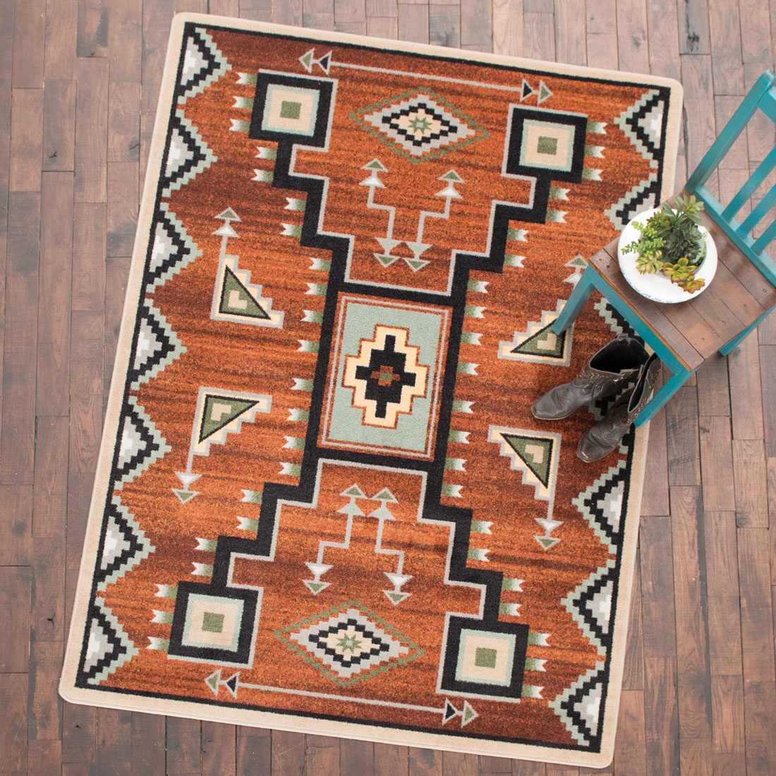 Tribal Rain Red Rug - 3 x 4
