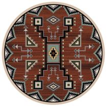 Tribal Rain Red Rug - 8 Ft. Round
