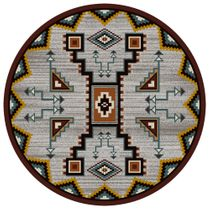 Tribal Rain Turquoise Rug - 8 Ft. Round