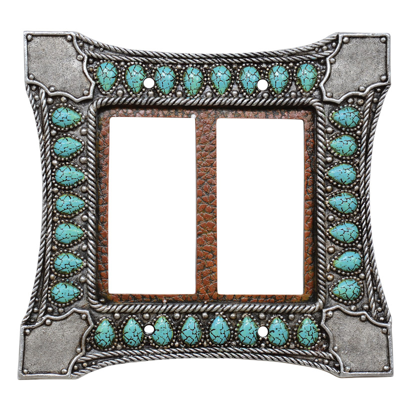 Tribal Turquoise Double Rocker Switch Cover