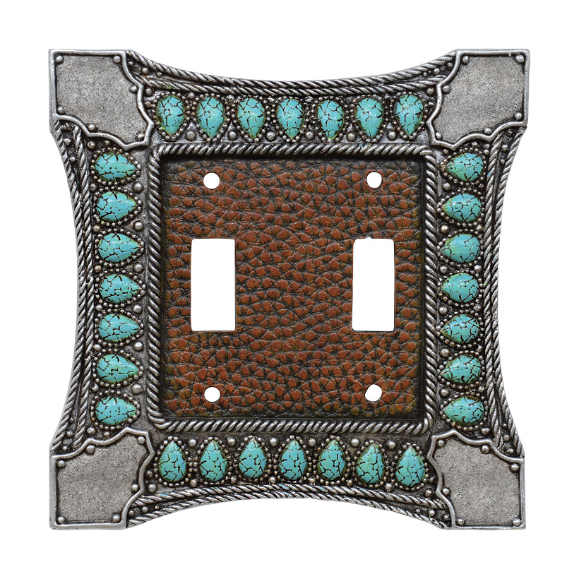 Tribal Turquoise Double Switch Cover