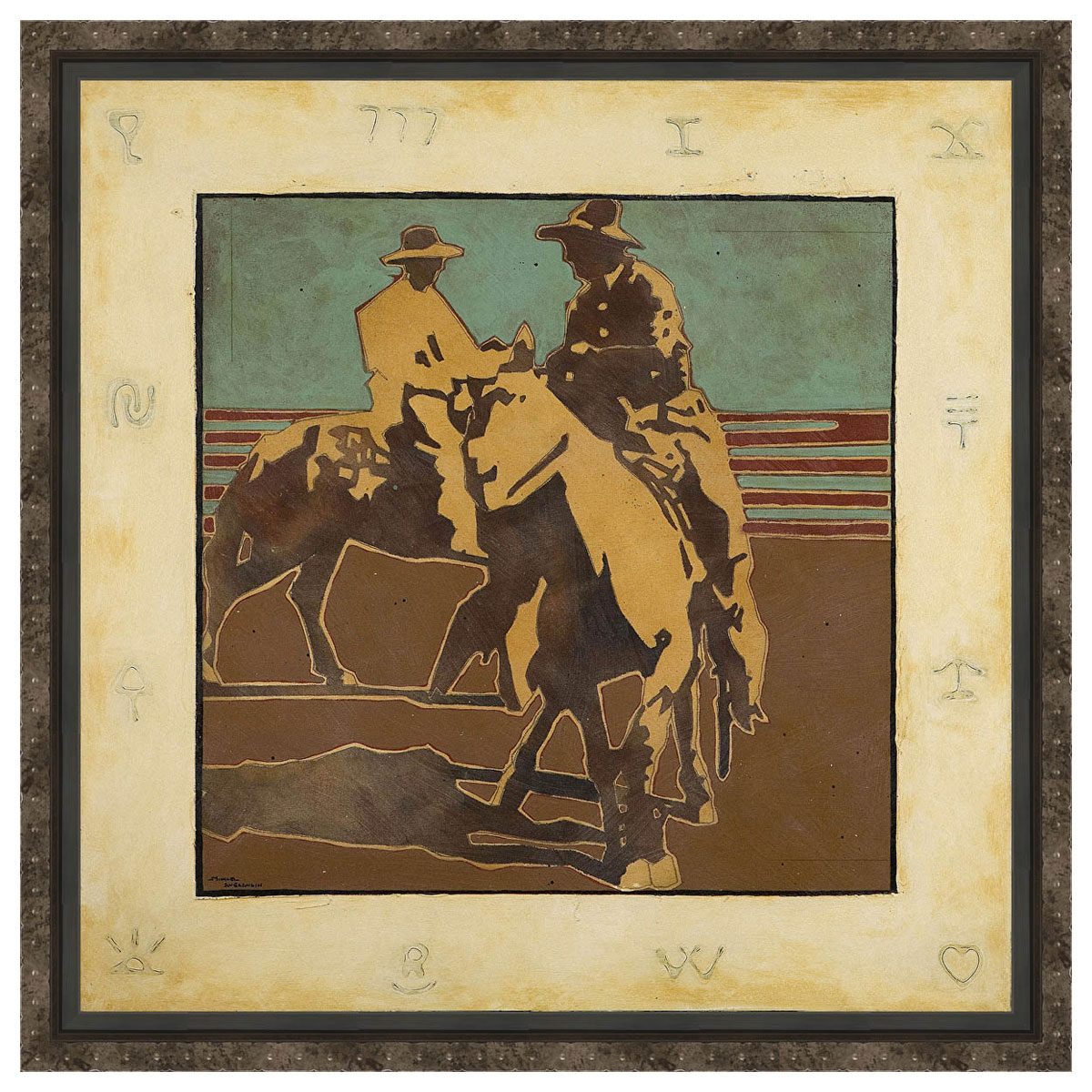 Trotting Around Framed Canvas