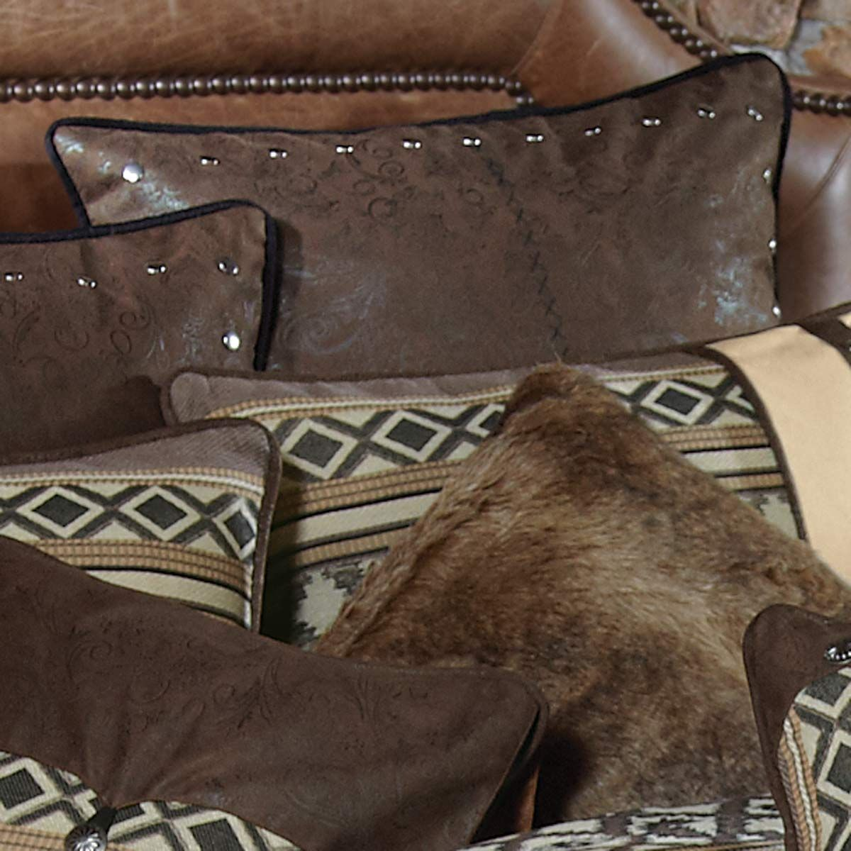 Brown Faux Leather Euro Sham