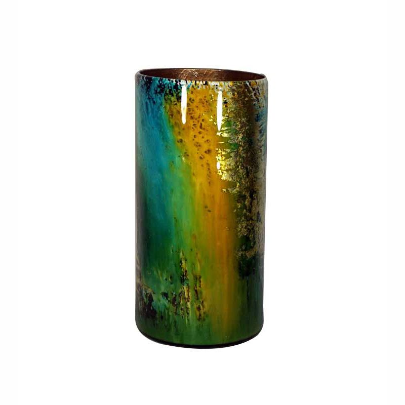 Turquoise and Gold Hand Painted Cylinder