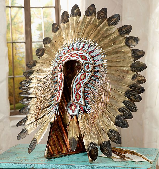 Turquoise & Red Metal Art Headdress