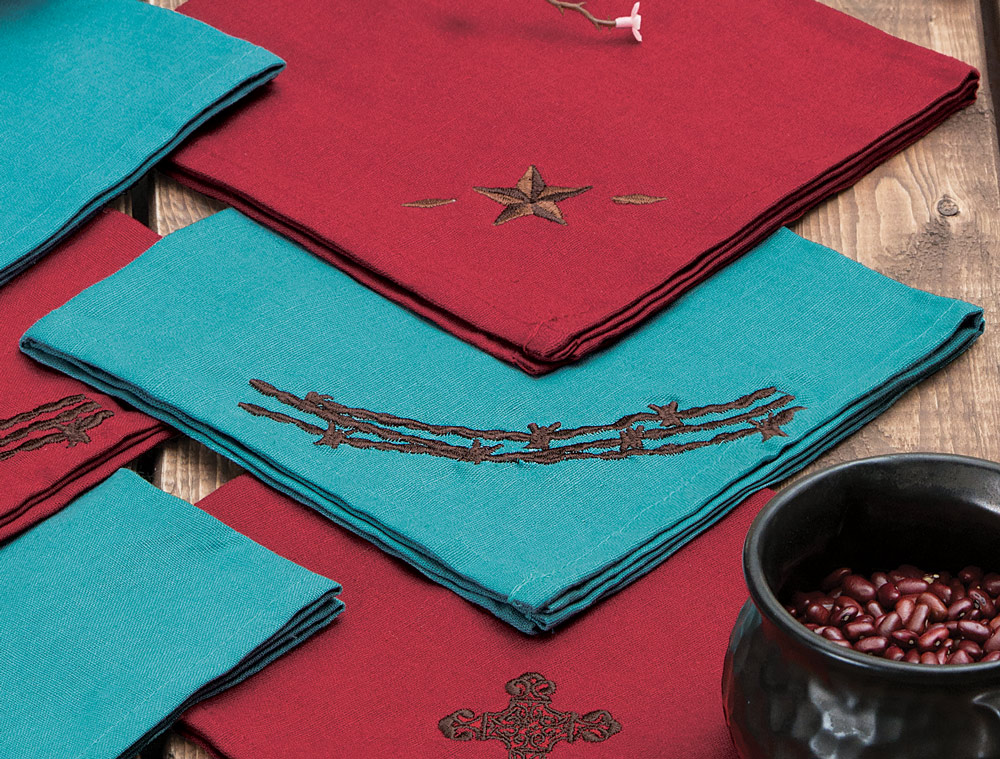Turquoise Barbed Wire Napkin Set - 4 pcs
