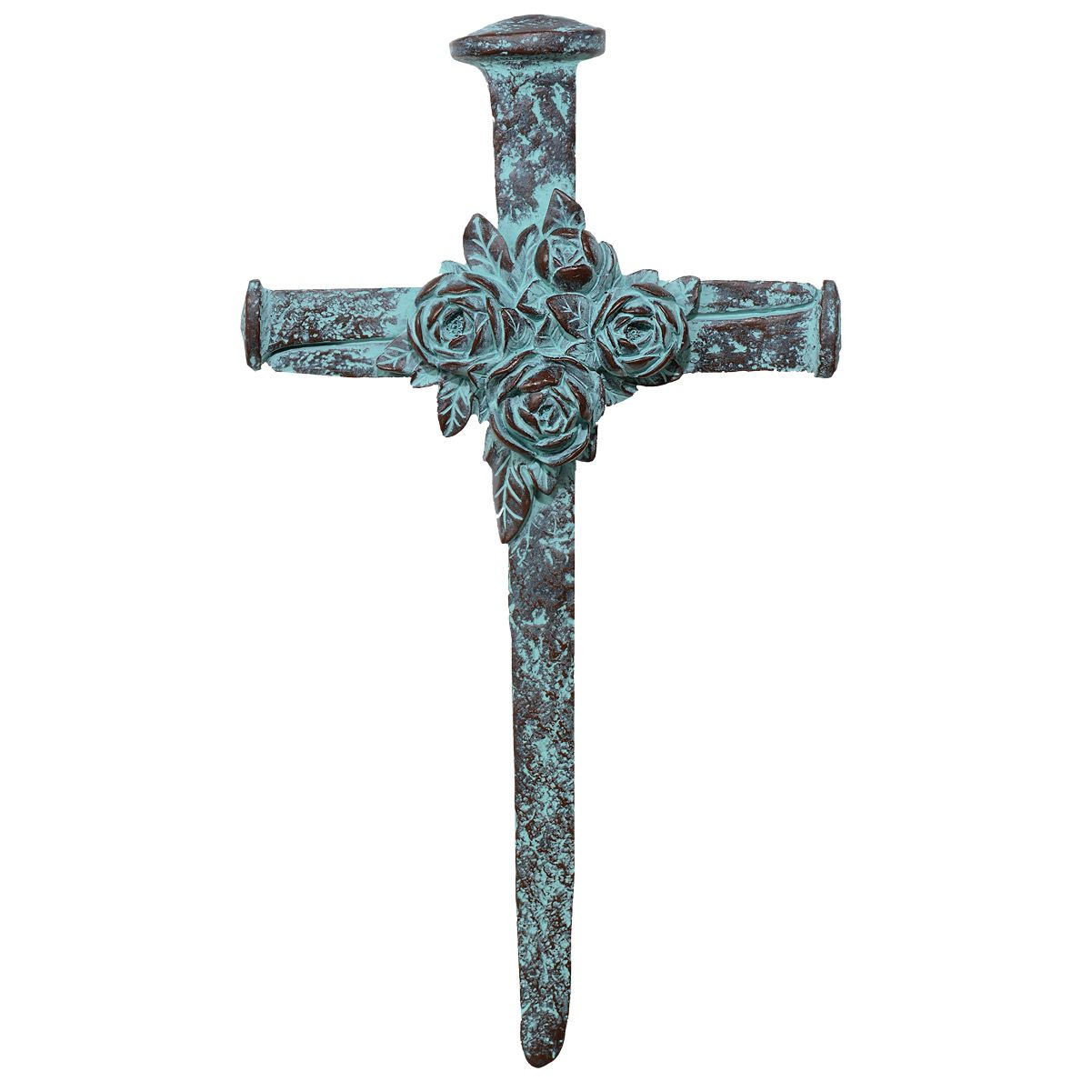Turquoise Blooms Wall Cross