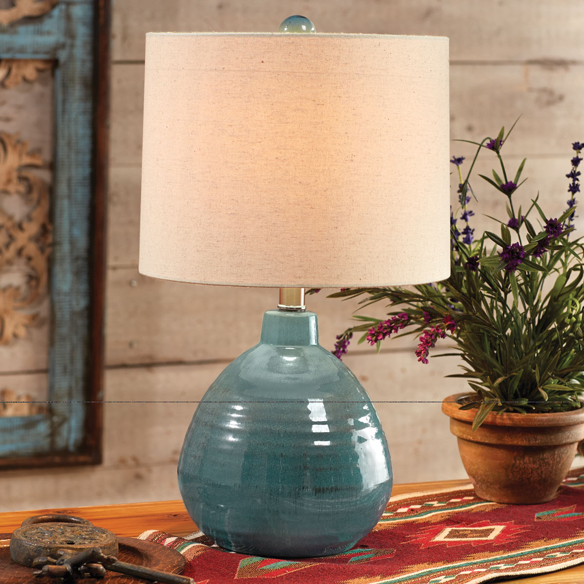 Turquoise Teardrop Accent Lamp