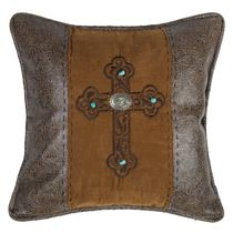 Turquoise Concho Cross Accent Pillow