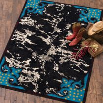 Turquoise & Cowhide Rug - 2 x 8