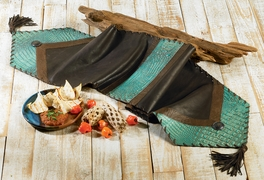 Turquoise Croc Leather Table Runner - 14 x 72
