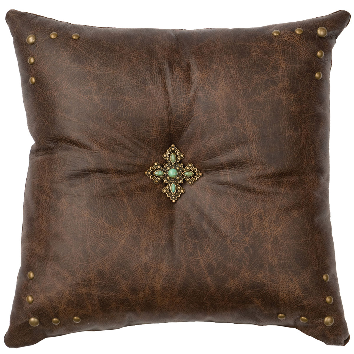 Turquoise Cross Concho Leather Pillow - Leather Back