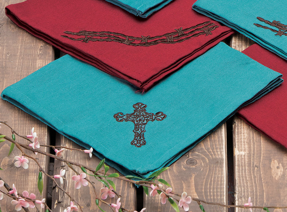 Turquoise Cross Napkin Set - 4 pcs