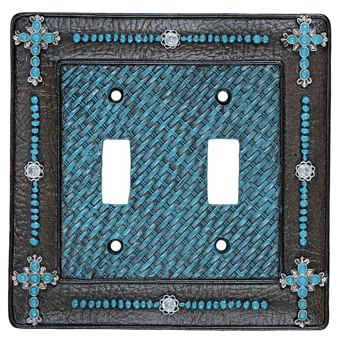 Turquoise Cross & Weave Double Switch Plate - CLEARANCE