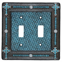 Turquoise Cross & Weave Double Switch Plate