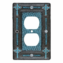 Turquoise Cross & Weave Outlet Cover
