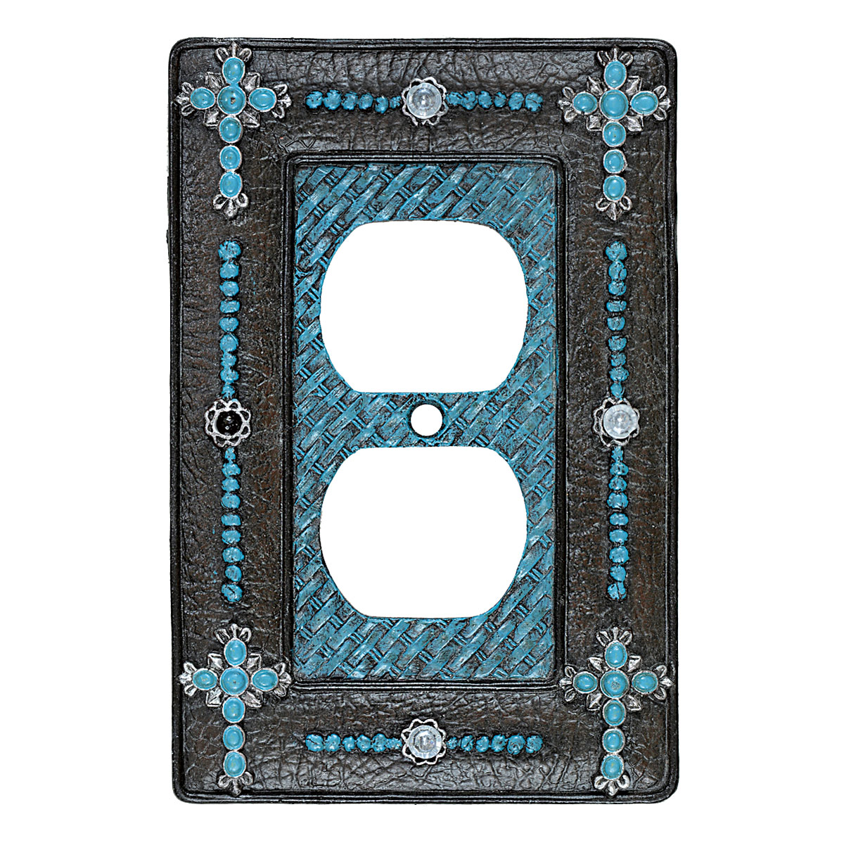 Turquoise Cross & Weave Outlet Cover - CLEARANCE