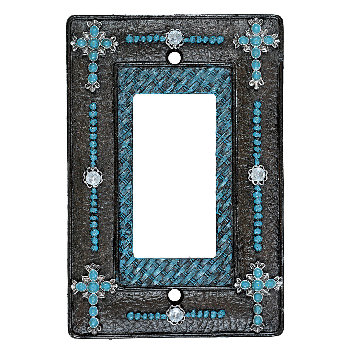 Turquoise Cross & Weave Rocker Plate - CLEARANCE