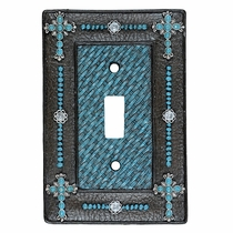 Turquoise Cross & Weave Single Switch Plate