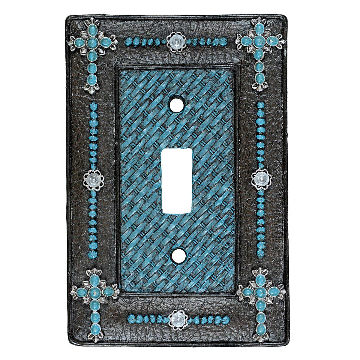 Turquoise Cross & Weave Single Switch Plate - CLEARANCE