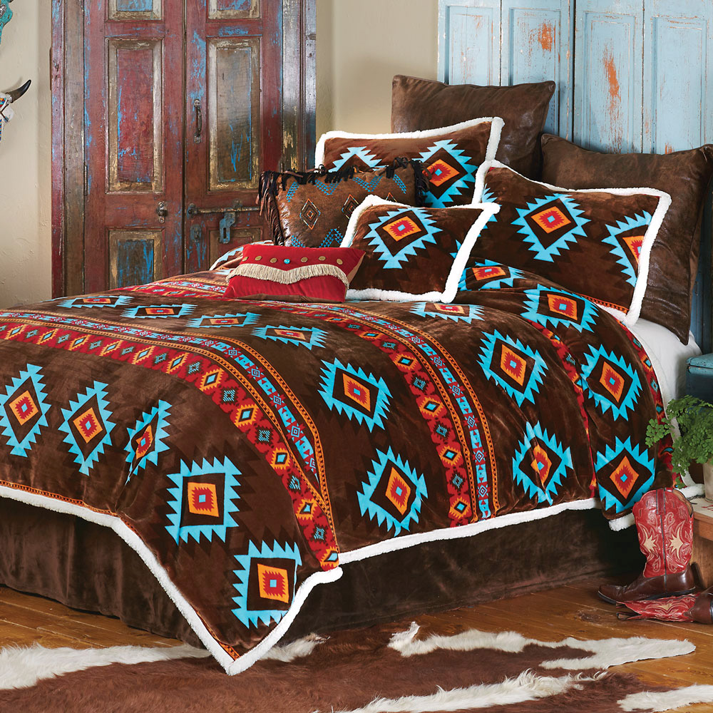 Turquoise Diamond Plush Bed Set - Queen