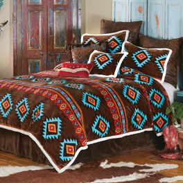 Turquoise Diamond Plush Bed Set - Queen - CLEARANCE