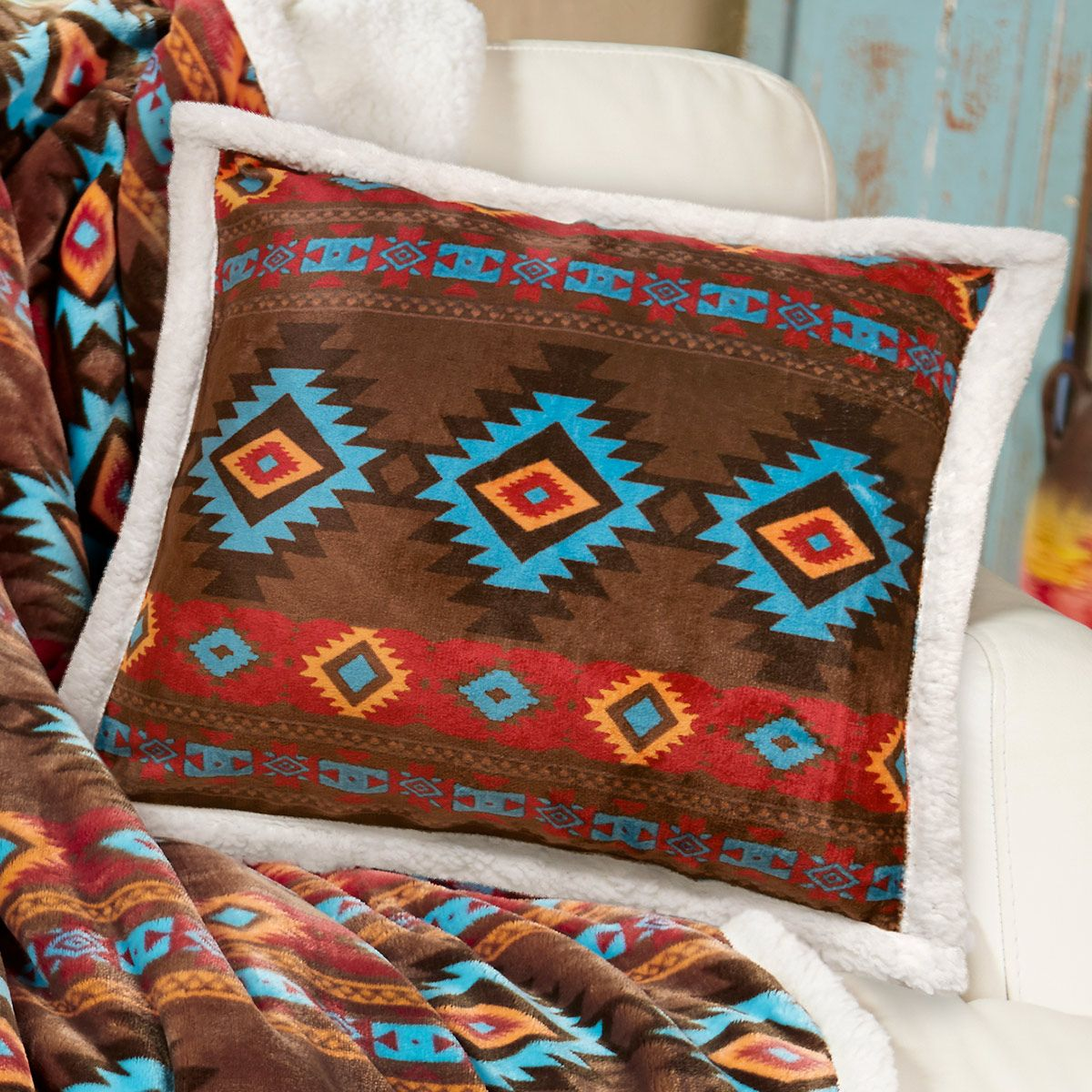 Turquoise Diamond Plush Pillow