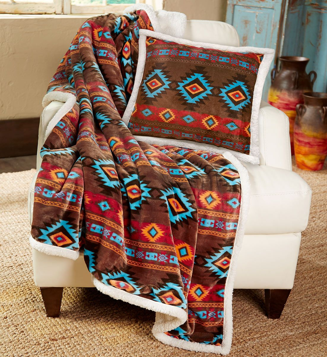 Turquoise Diamond Plush Throw