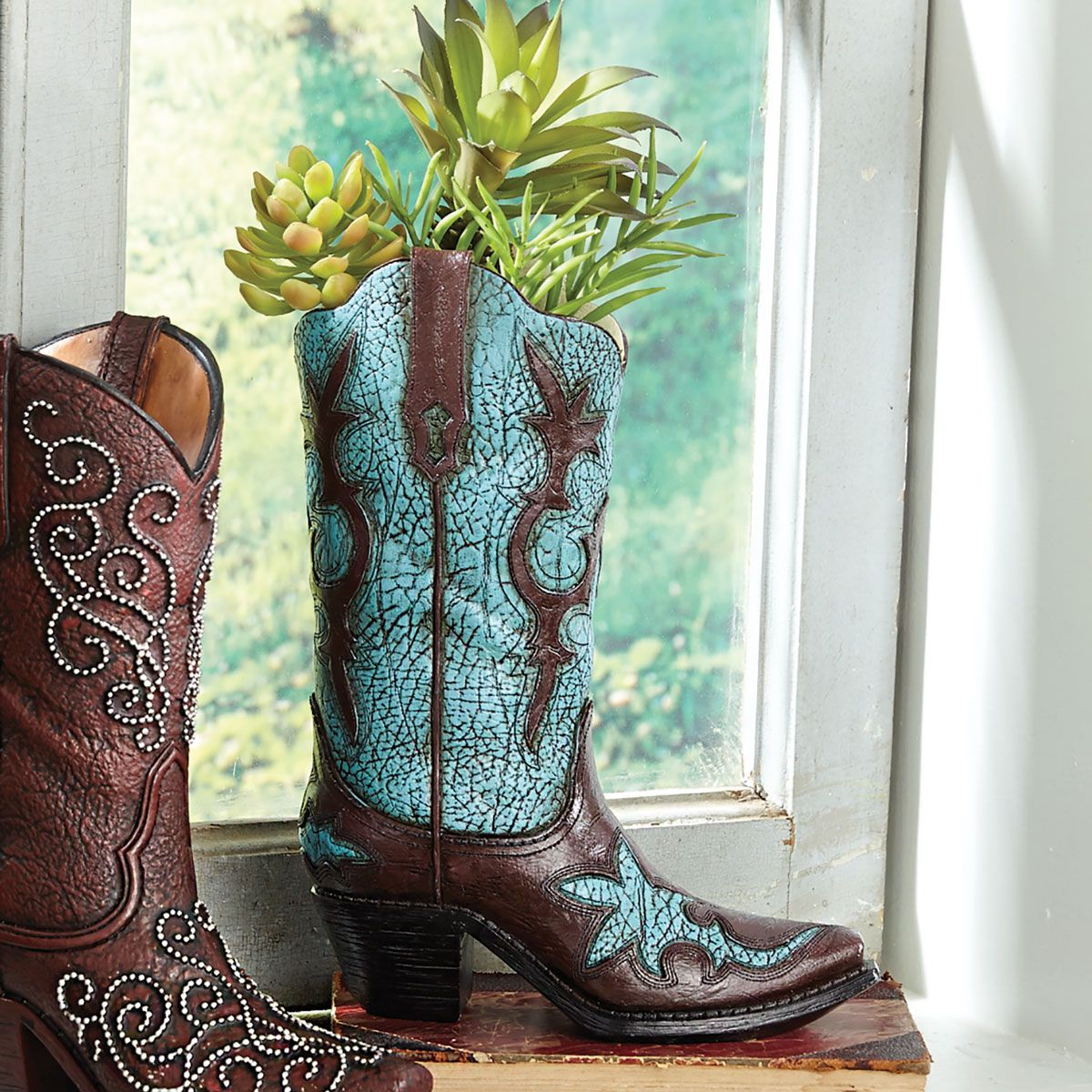 Turquoise Distressed Cowboy Boot Vase
