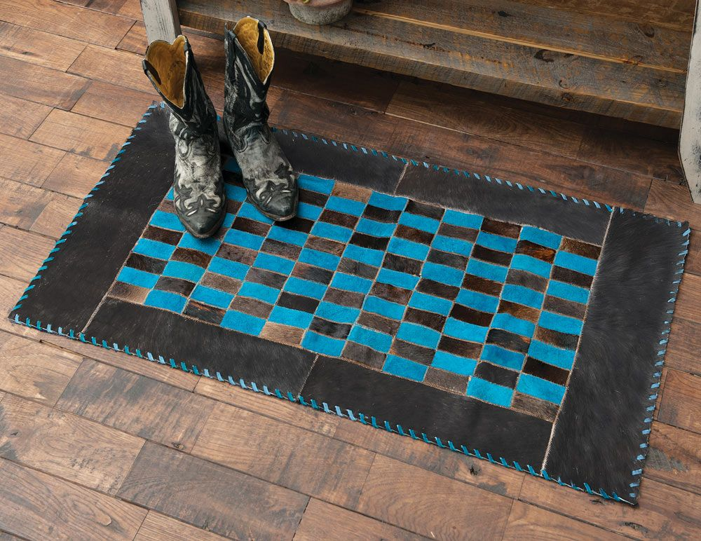 Turquoise Dyed Cowhide Rug