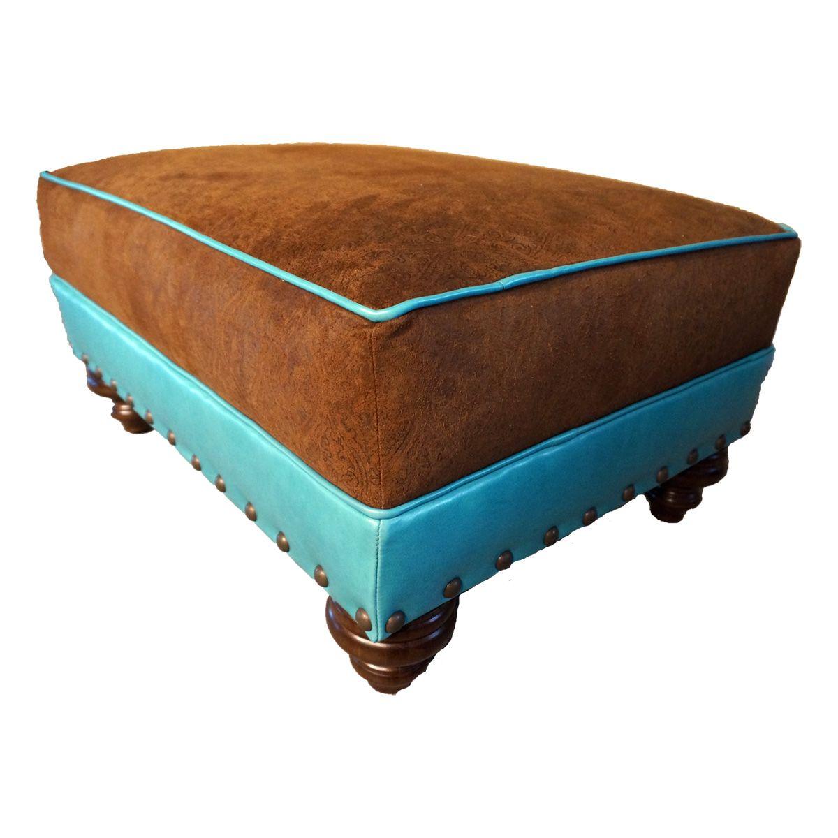 Turquoise & Embossed Leather Medium Ottoman