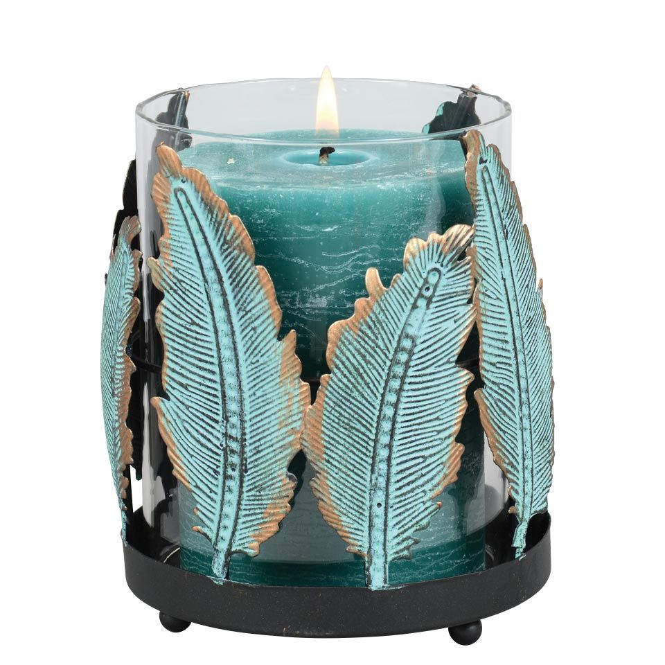 Turquoise Feather Candle Holder