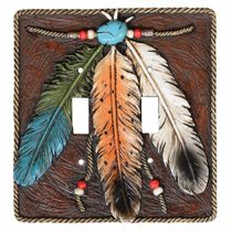 Turquoise Feather Double Switch Plate
