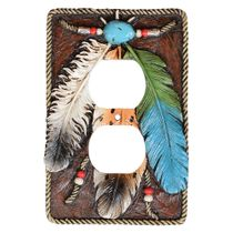 Turquoise Feather Outlet Cover