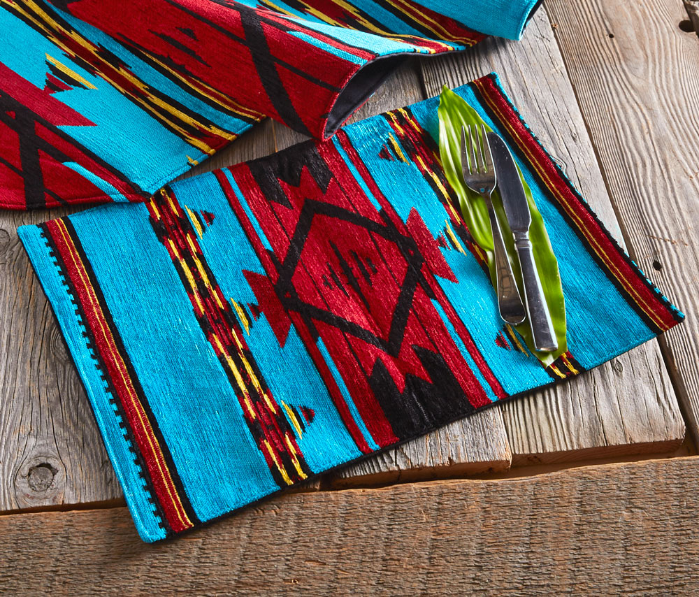 Turquoise Flame Chenille Placemat - OUT OF STOCK UNTIL 6/25/2021