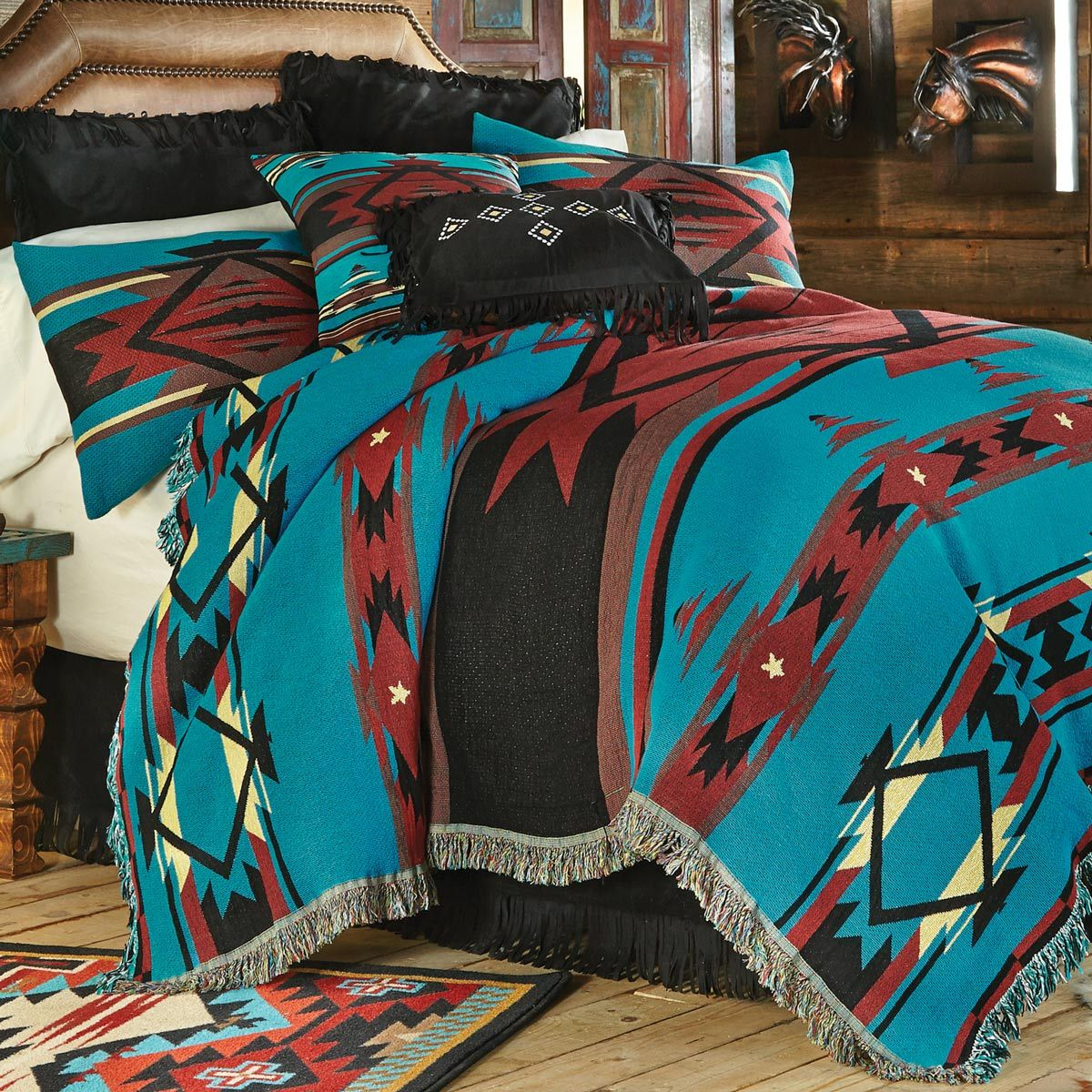 Turquoise Flame Tapestry Coverlet - Queen