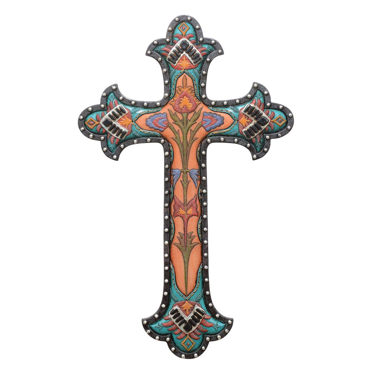 Turquoise Floral Wall Cross