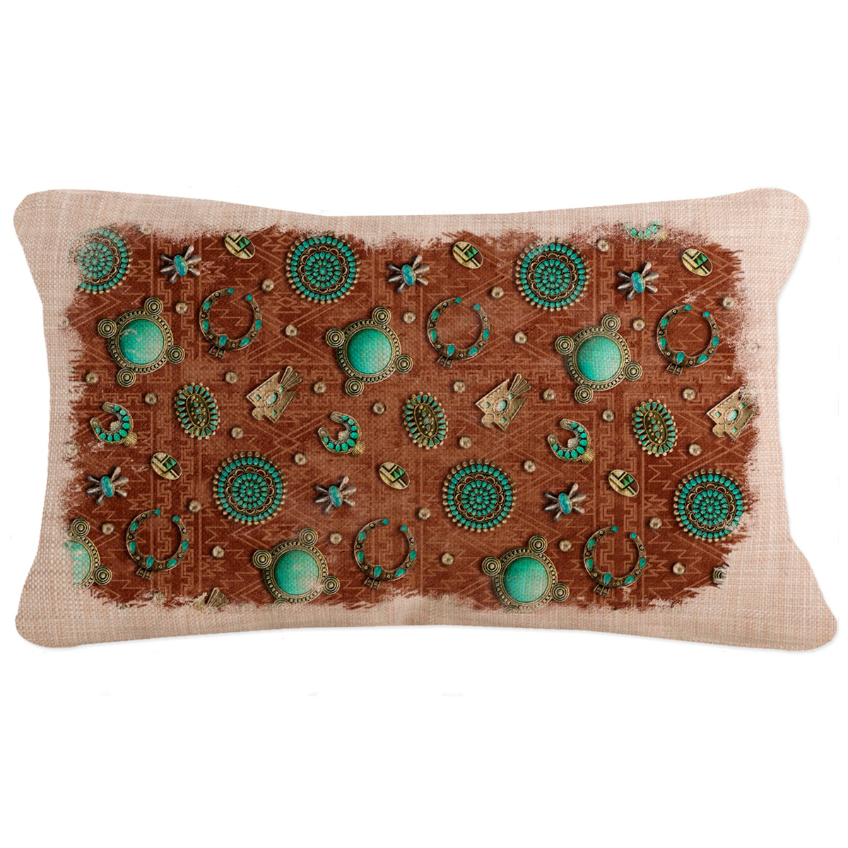 Turquoise Gala Rectangle Pillow